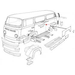 Tôle compariment moteur gauche Baywindow de 1968 à 1971