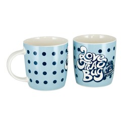 Mug en porcelaine tendre avec Love that Bug bleu 400 ml