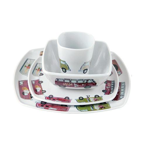 Service de vaisselle imprimé avec plusieurs motifs vintage VW Combi T1