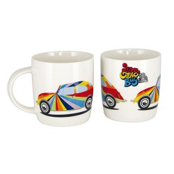 Mug en porcelaine tendre avec VW Cox multicolore 400 ml